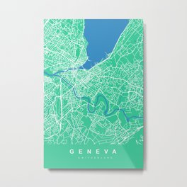 GENEVA City Map - Switzerland | Green | More Colors, Review My Collections Metal Print