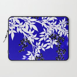 LEAF AND TREE BRANCHES BLUE AD WHITE BLACK BERRIES Laptop Sleeve