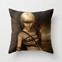 Sad Gothic Girl awaiting the storm Throw Pillow