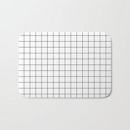 Grid White Bath Mat