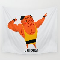friday Wall Tapestries featuring Flex Friday by Huebucket