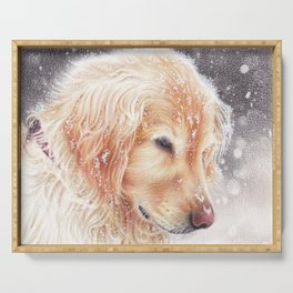 Winter dog colored pencils illustration Serving Tray