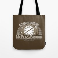 mcfly Tote Bags featuring McFly & Brown Blacksmiths by Doodle Dojo