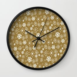 Snowflake Snowstorm With Golden Background Wall Clock