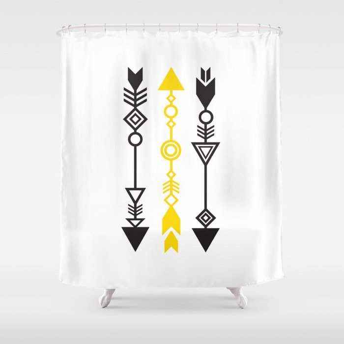 One Mustard Arrow Shower Curtain