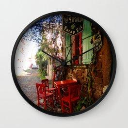 colorful street in cunda Wall Clock