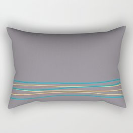 Gray Aqua Red Yellow Scribble Line Design Bottom 2021 Color of the Year AI Aqua and Accent Shades Rectangular Pillow