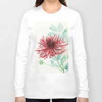 dahlia Long Sleeve T-shirts featuring Bursting With Excitement  by Kate Havekost Fine Art