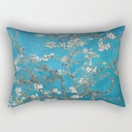 Vincent van Gogh Blossoming Almond Tree (Almond Blossoms) Medium Blue Rectangular Pillow