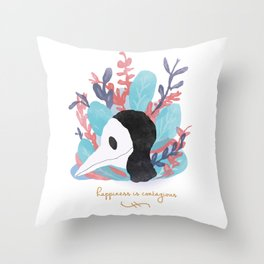 Happiness is Contagious Throw Pillow