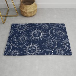 Blue Magic Celestial Sun Moon Stars Rug