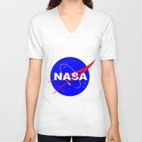 nasa V-neck T-shirts featuring Nasa logo by anto harjo