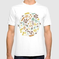Autumn Blooms White Mens Fitted Tee MEDIUM