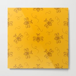 Line style bee yellow pattern Metal Print