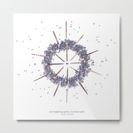 nature mandala... sea hedgehog spines, lavender buds Metal Print
