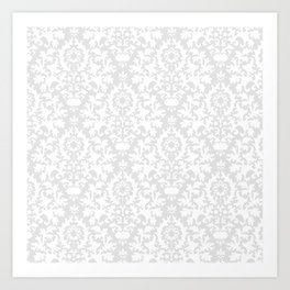 Vintage chic gray white abstract floral damask pattern Art Print