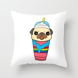 Cute & Funny Pug Puppy Dog In Smoothie Throw Pillow