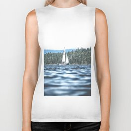 Calm Lake Sailboat Biker Tank