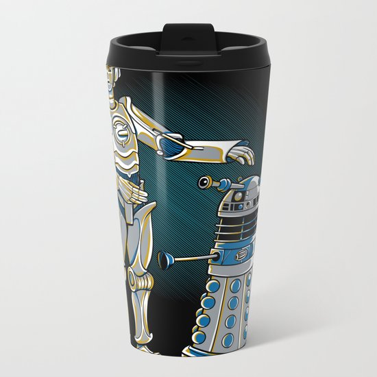 Cyber3PO and R2Dalek Metal Travel Mug