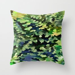 Foliage Abstract Pop Art In Green and Blue Throw Pillow