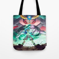 gurren lagann Tote Bags featuring Gurren Lagann - This Drill will pierce the Heavens by Brian Hollins art