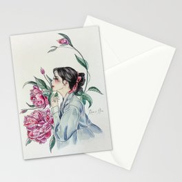 Peonies (Hanbok girls) Watercolor Stationery Cards