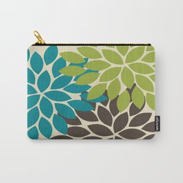 Bold Colorful Biege Brown Teal Green Dahlia Flower Burst Petals Carry-All Pouch