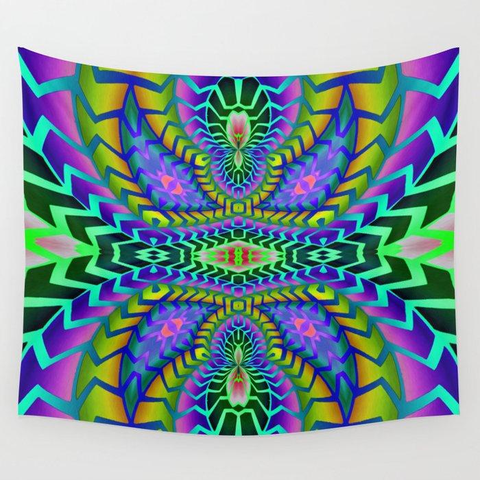 Tribal Rainbow Lotus Wall Tapestry