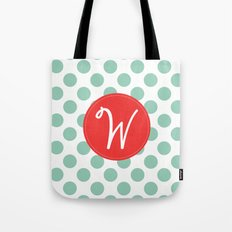 Monogram Initial W Polka Dot Tote Bag