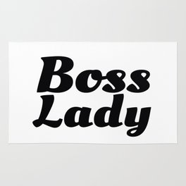 Boss Lady in Cursive Black Rug