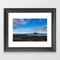 The fisherman and the lighthouse. Framed Art Print