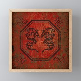 Distressed Dueling Dragons in Octagon Frame With Chinese Dragon Characters Framed Mini Art Print
