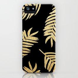 Gold Glitter Palms     Black Background iPhone Case