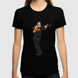 Typography Art of  The Man in Black Johnny Cash T-shirt
