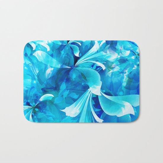 Stylized flowers in blue Bath Mat