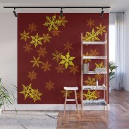 Yellow Snowflake Wall Mural