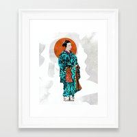 geisha Framed Art Prints featuring Geisha by Steve W Schwartz Art