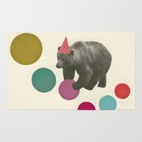 birthday Area & Throw Rugs featuring Birthday Bear by Cassia Beck