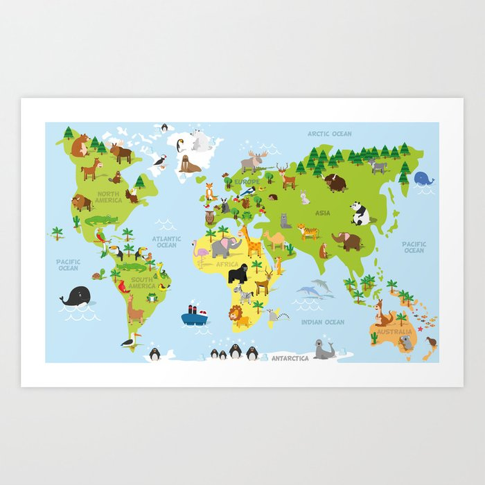 Funny Cartoon World Map With Traditional Animals Of All The