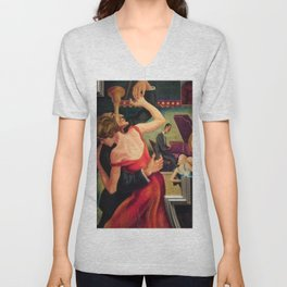 Classical Masterpiece Couple Dancing to Favorite Song by Thomas Hart Benton Unisex V-Neck