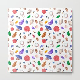 Hand painted pink coral green seashells nautical pattern Metal Print