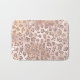 Rosegold Blush Leopard Glitter   Bath Mat