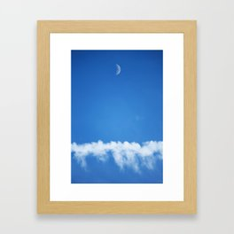 Moon and Contrail Framed Art Print