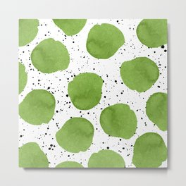 Modern green watercolor polka dots black brushstrokes greenery color of the year pattern Metal Print