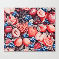 Watercolour Fruit - Cobalt/Carmine Canvas Print
