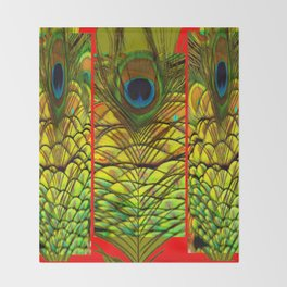 ART DECO RED GOLDEN-GREEN PEACOCK  PATTERN Throw Blanket