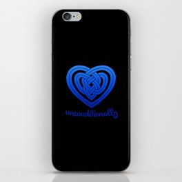 UNCONDITIONALLY in blue on black iPhone Skin