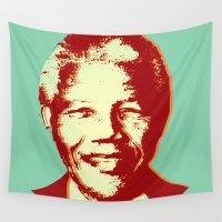 mandela Wall Tapestries featuring NELSON MANDELA by mark ashkenazi