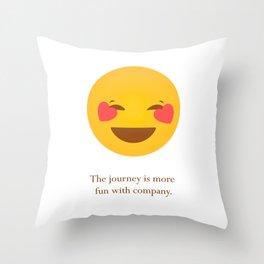 Journey Friendship Quote Emoji Throw Pillow