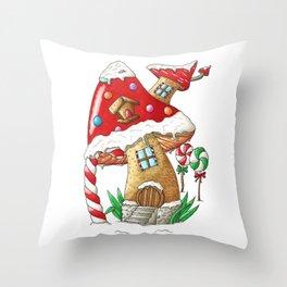Mushroom gingerbread house Throw Pillow